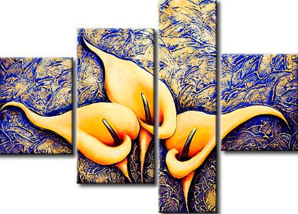 Pinturas cuadros lienzos pintura moderna flores for Imagenes de cuadros abstractos con relieve