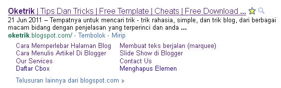 Mendapat Sitelink