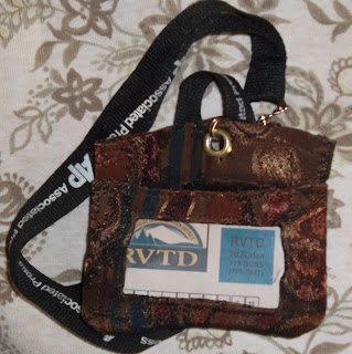 Rogue Valley Transportation District bus pass in handmade ID holder on laniard