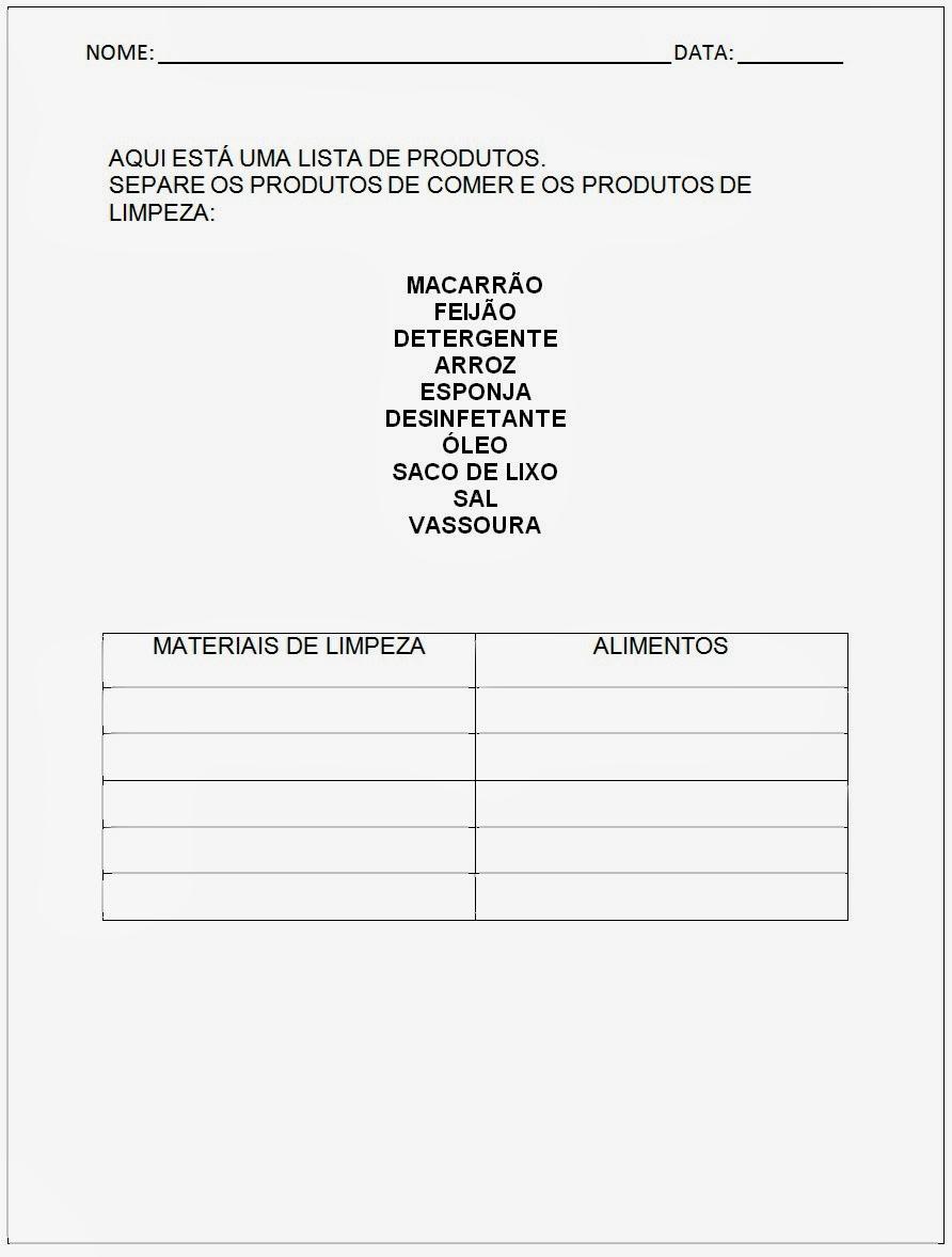 Atividades para EJA - Lista de Produtos