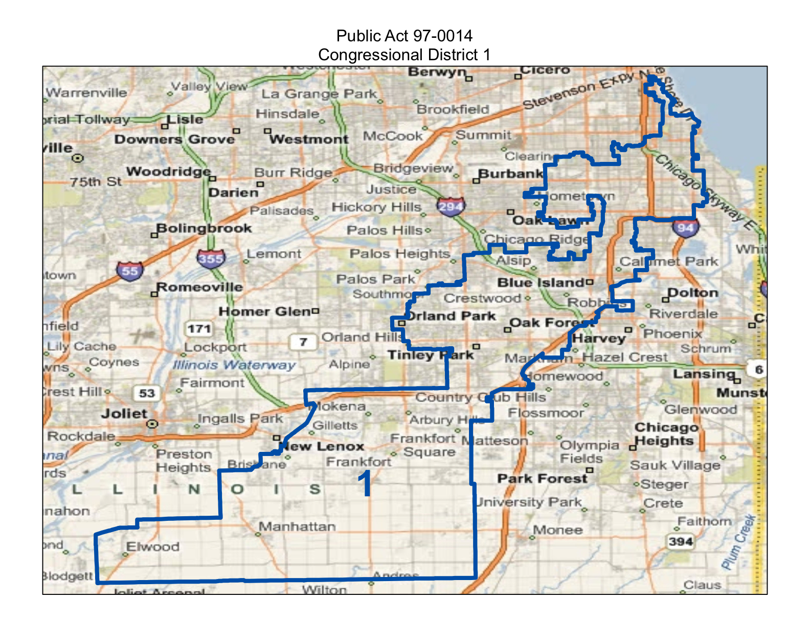 frankfort illinois is part of the 1st congressional district for the november 2012 election