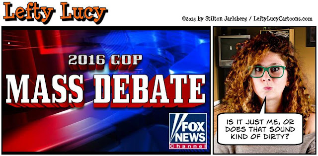 lefty lucy, liberal, progressive, political, humor, cartoon, stilton jarlsberg, conservative, clueless, young, red hair, green glasses, cute, democrat, republican, debate, fox news
