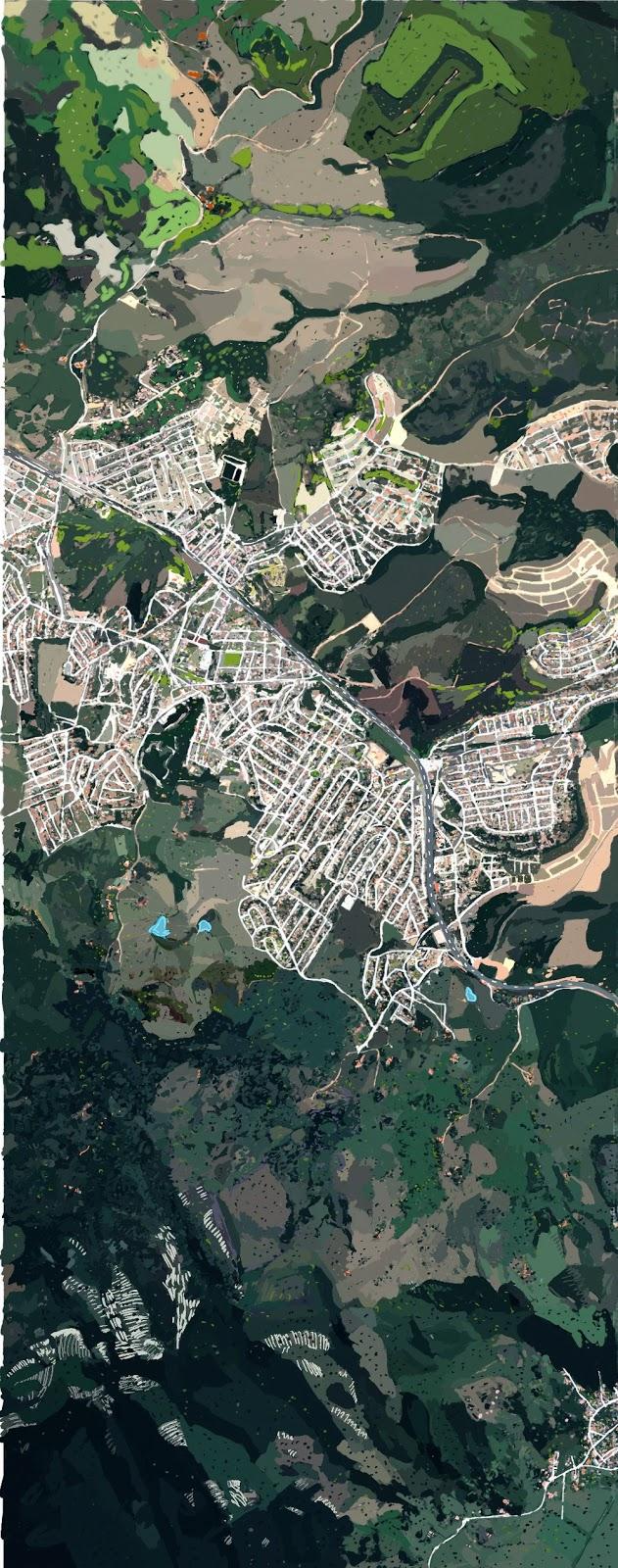Primeira hipotese da tira G da seção n.3 do Mapa de Vitória. O tratamento pictórico e dos claros e escuros foi realizado em base da imagem satelitar do Google.