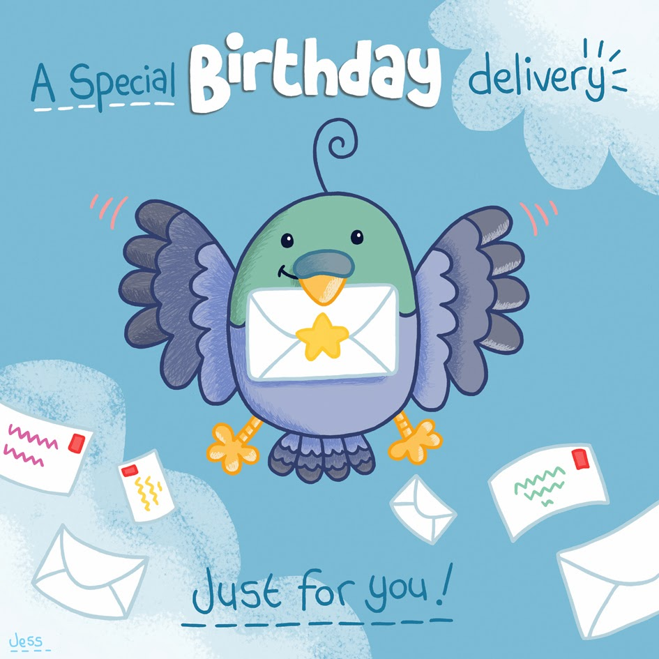Squid Bits Pigeon Birthday Card
