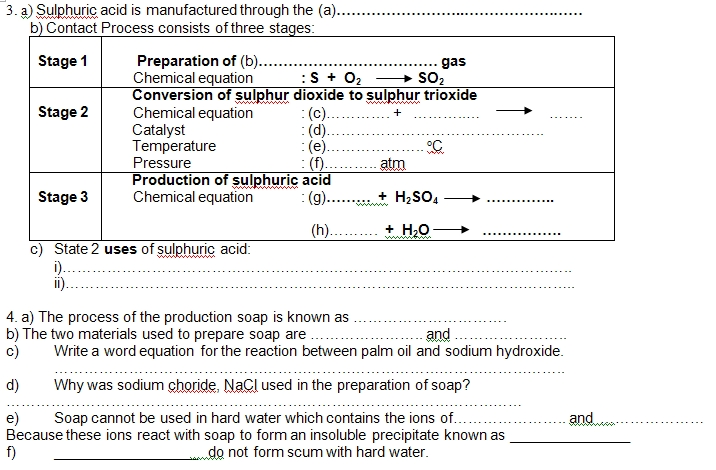 chemistry essay question form 4
