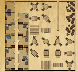Map of the tavern The Slaugthered Rose