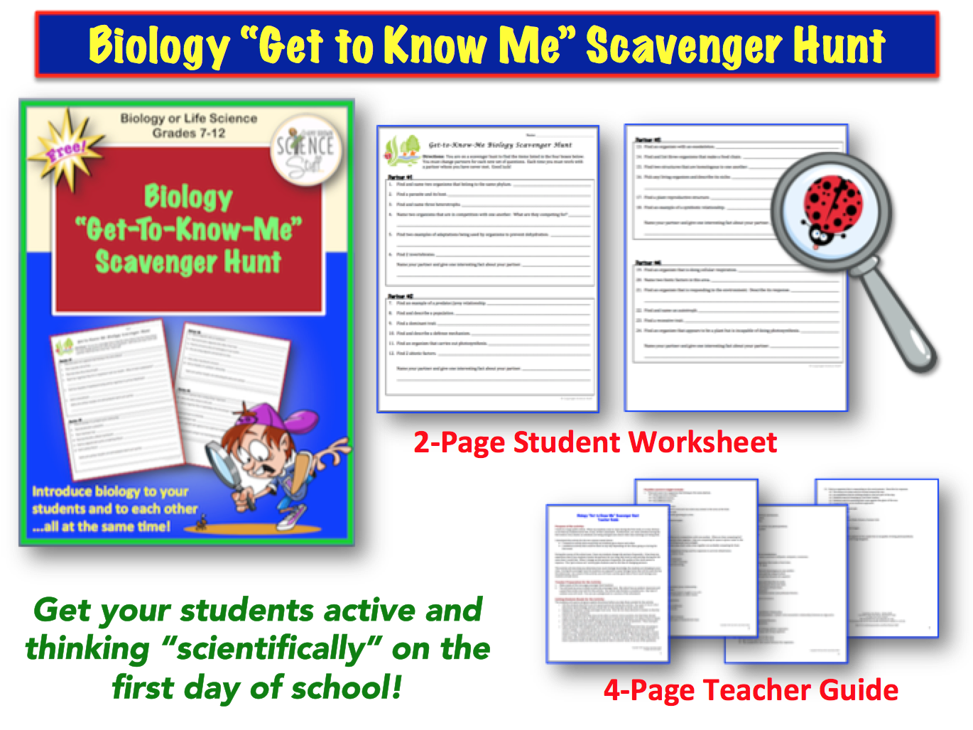 Amy Brown Science Back to School Biology Scavenger Hunt Freebie – Get to Know Me Worksheet