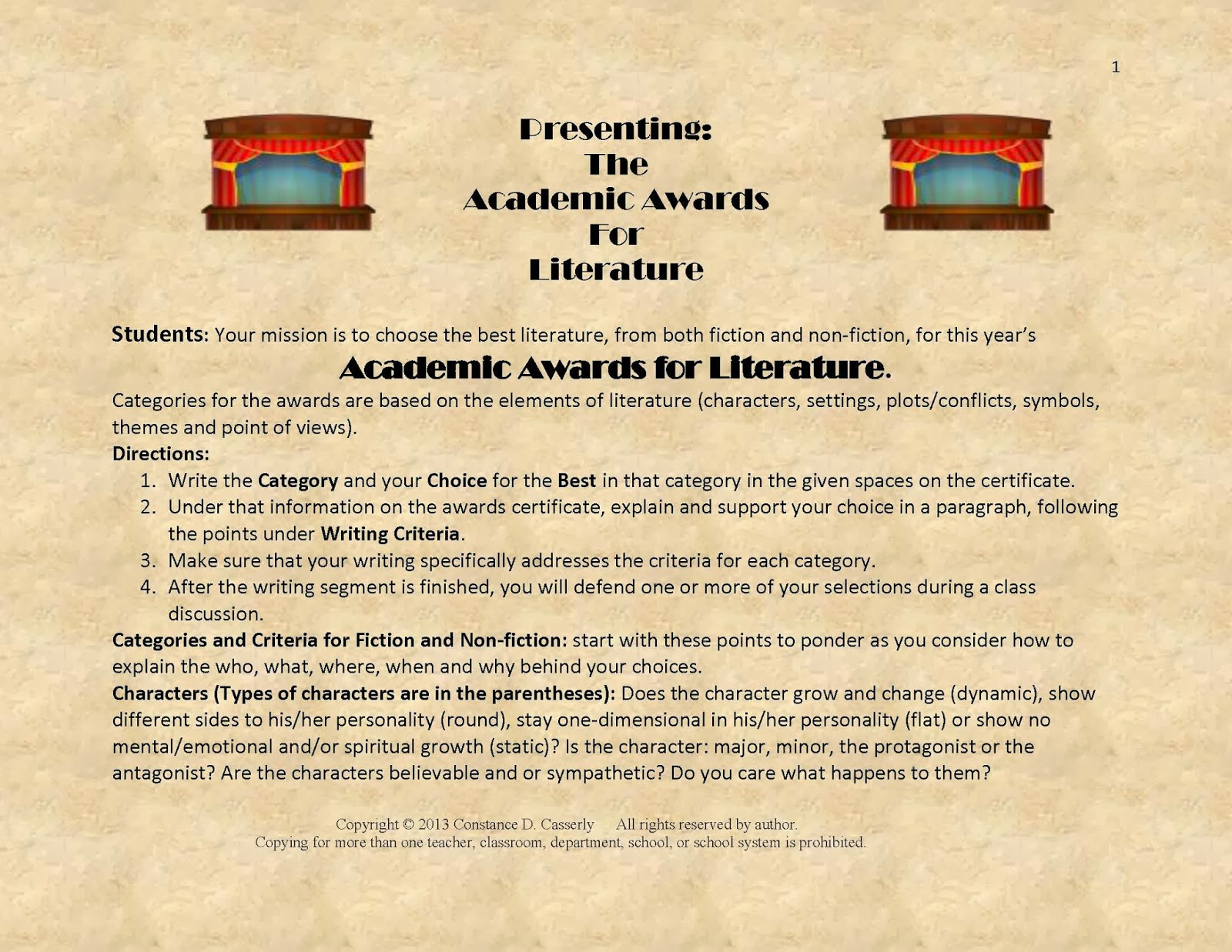 Activity: Presenting the Academic Awards for Literature