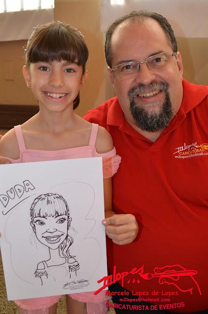 Caricaturista Marcelo Lopes de Lopes e sua caricatura de eventos