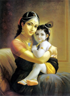 Devaki with Krishna.
