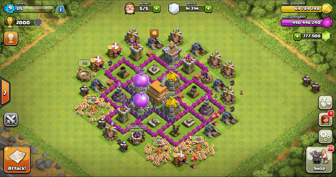 War Clash of Clans Th 6 Base
