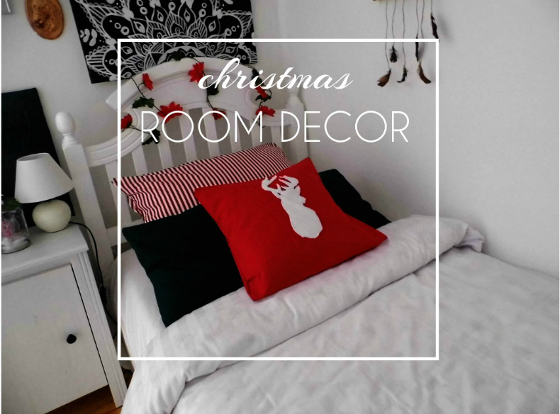Christmas room decor: bed and nightstand
