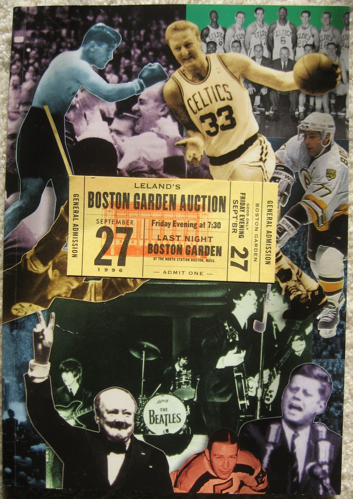 Auction booklet displaying major items up for bid Boston Garden 1996