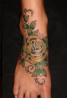 Rose Flower Tattoo Design on Foot