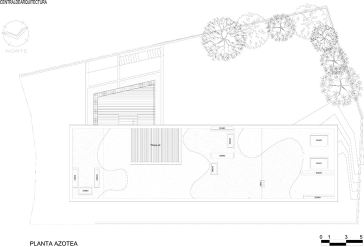 Roof floor plan of House La Punta by Central de Arquitectura