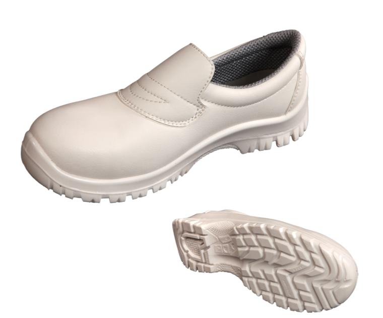 Zapato mocas n blanco perforado con puntera met lica - Zapatos antideslizantes cocina ...