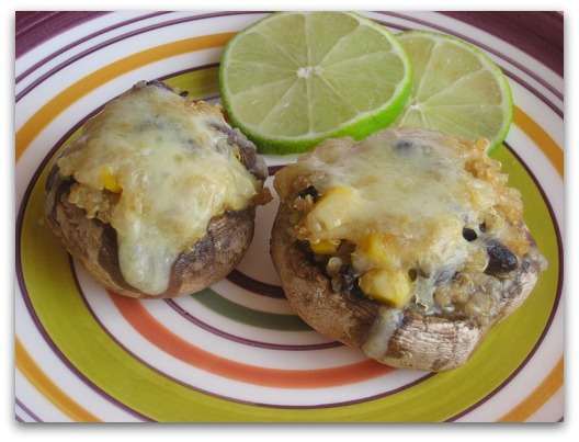 fiesta quinoa stuffed mushrooms