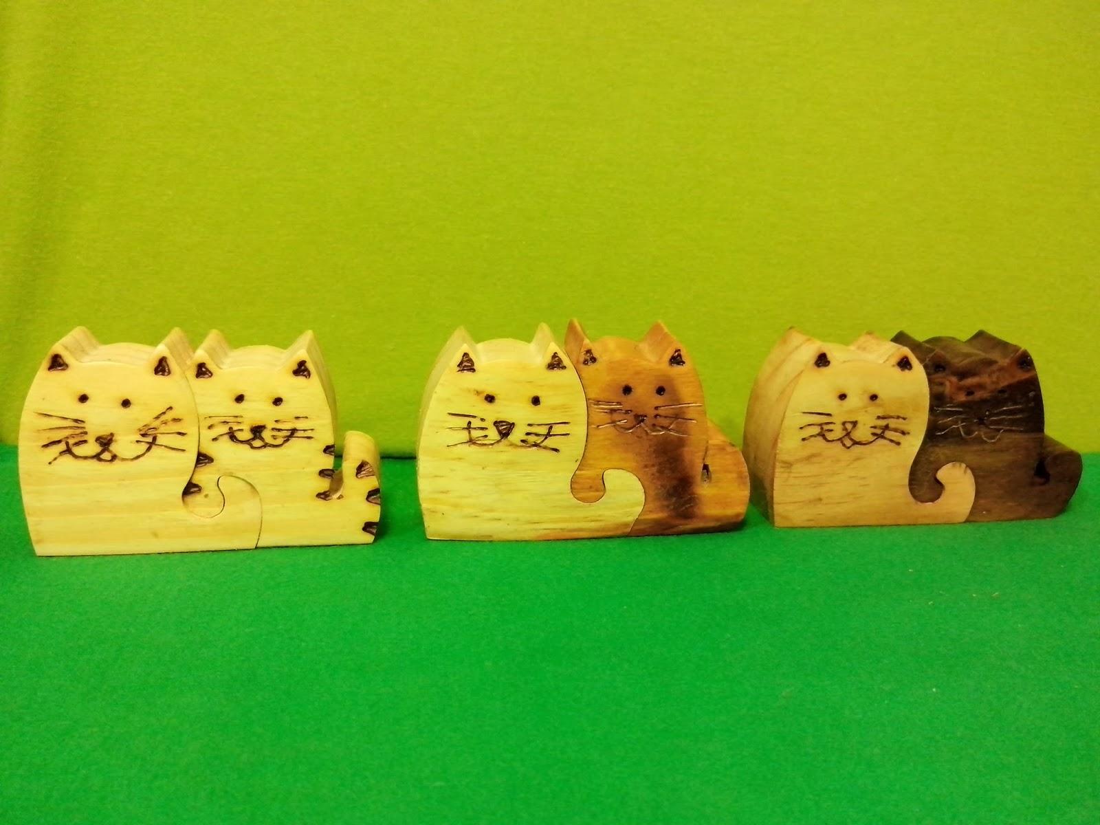 artesanato encaixe madeira gatos daniel visconti