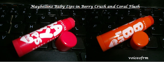 Maybelline Baby Lips Color in Berry Crush and Coral Flush Review, swatch and LOTD