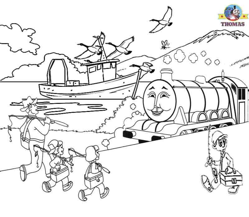 the train coloring pages free Gordon the tank engine fishing sea boat