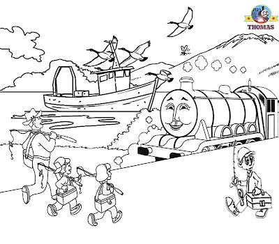 Childrens pictures of Thomas the train coloring pages free Gordon the tank engine fishing sea boat