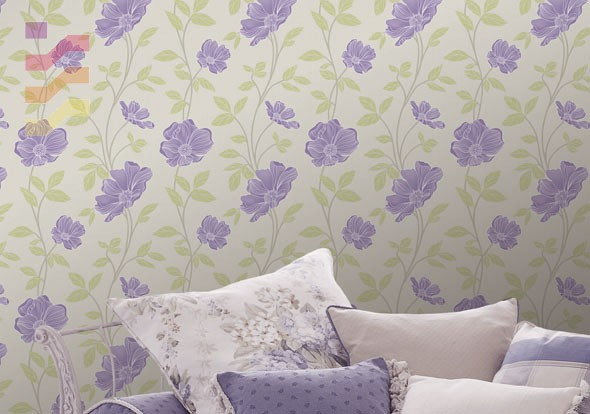 aranżacja tapeta fioletowe kwiaty