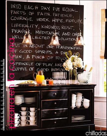 Las ideas de chifladas ideas con pintura de pizarra - Pared pizarra cocina ...
