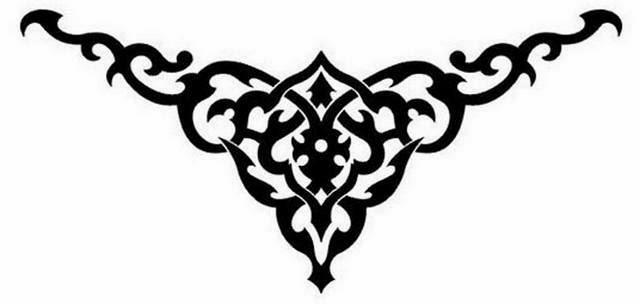 Lower back mehndi tattoo stencil