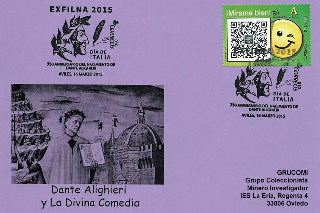Matasellos Día de Italia de la EXFILNA 2015 de Avilés, con Dante