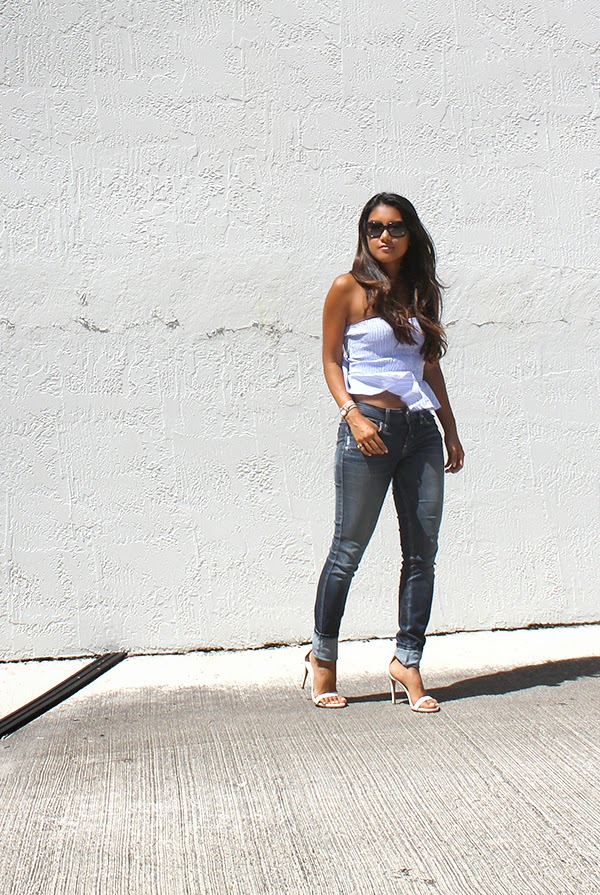 style by lynsee, fashion blogger, gucci sunglasses, ZARA top, peplum top, la mer collections wrap watch, bebe jeans, stretchy jeans, skinny jeans, how to dress up jeans, how to style denim, white heels, zara heels, oversized sunglasses, lucky magazine, popsugar fashion blogger, stylehaul, youtuber