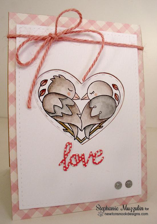 Bird Couple Valentine Card by Stephanie Muzzulin | Darling Duos Stamp Set by Newton's Nook Designs #newtonsnook
