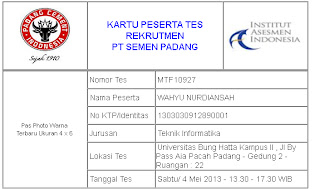 Kartu+Tes Pengumuman Tes Tahap 1 PT.Semen Padang