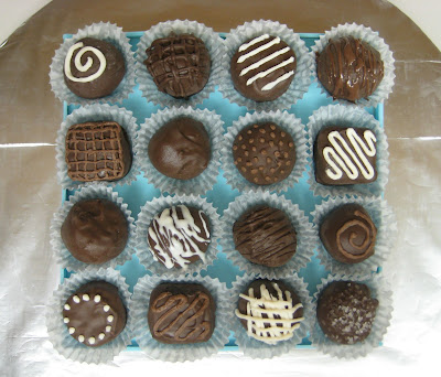 Box of Chocolates Cake with Cake Balls - Overhead View