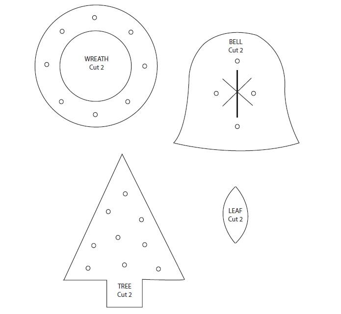 Fieltrolocuras: Patrones de fieltro navideños, campana, árbol y corona.