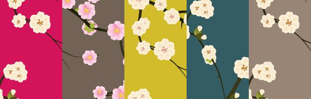 5種類のカラーバリエーションの和風の花のイラストパターン | 商用利用も可なフリーの花柄パターン素材