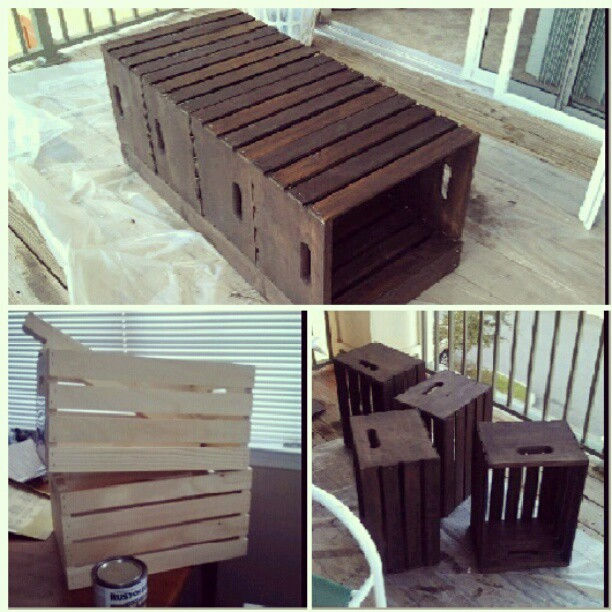 This Awesome Coffee Table Made By A Friend It 39 S Made Out Of Crates