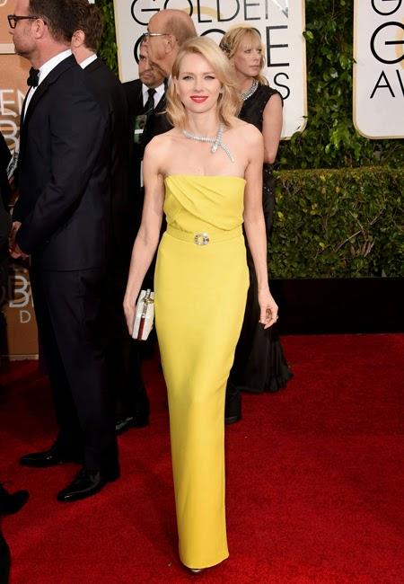 Наоми Уотс в жълта рокля Gucci на наградите Златен глобус 2015