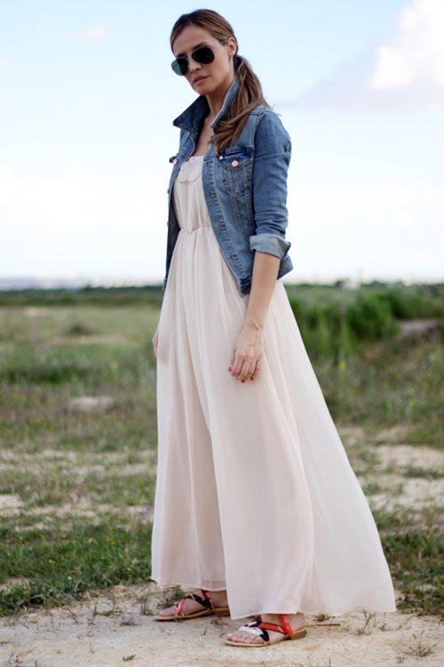 Look con vestido blanco largo