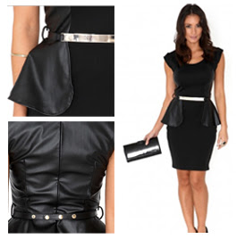 Missguided Leather Panel Peplum Dress