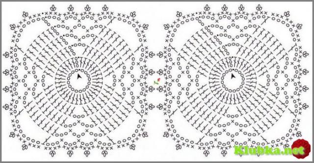 Вязание крючком квадратных скатертей и их схемы 20