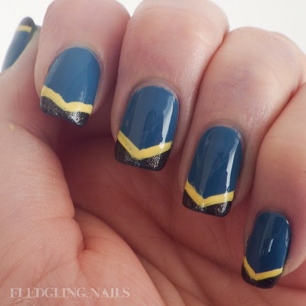 Fledgling Nails Notd Chevron Nail Art In Blue Yellow And Black
