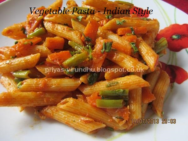 Priyas Virundhu Vegetable Pasta Indian Style
