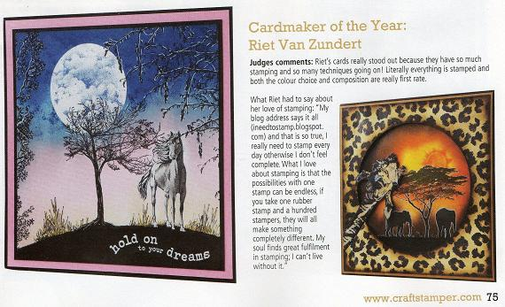 Craft stampers, card maker of the year award 2010