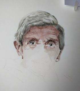 retrato a medio hacer en acuarela de una anciana