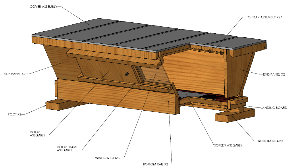 ... Top Bar Hive And The Langstroth Hive. The Original Design Of The Warré  Hive Allows Honey Bees To Build Comb In A Continuous Downward Fashion By  Adding ...