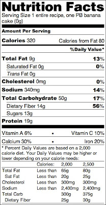 Healthy Single-Serving Chocolate Peanut Butter Banana Microwave Cake nutrition label - Healthy Dessert Recipes at Desserts with Benefits