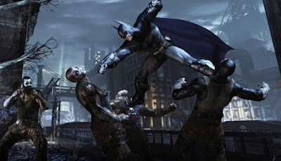 A screenshot of a combat scene, where Batman is punching one thug while kicking another, flying through the air.