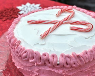 Christmas Peppermint Cake ♥ KitchenParade.com, an easy cake-mix cake, one recipe, many variations including lemon, orange, strawberry, 9x13 cake.