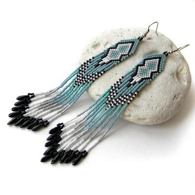 купить украшения из бисера длинные сережки анабель 27