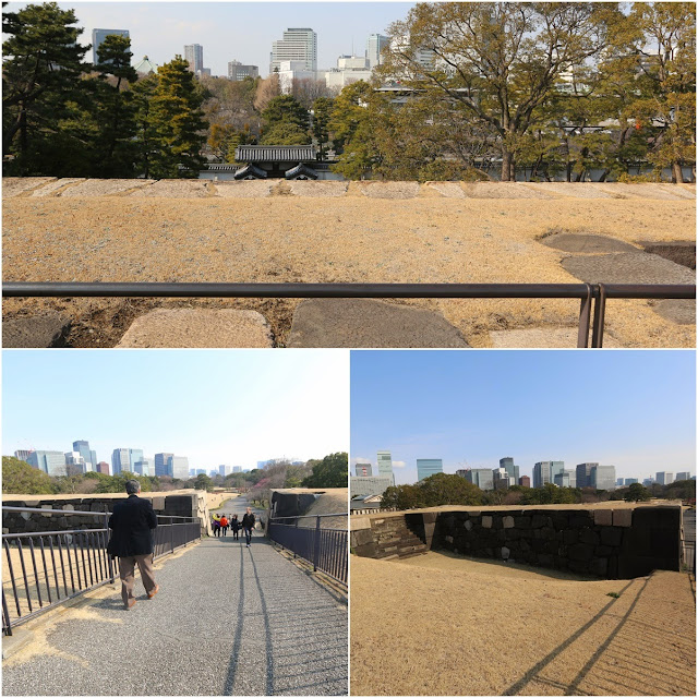walking up to the top of the foundation of Edo Castle at Imperial Palace East Garden in Tokyo, Japan